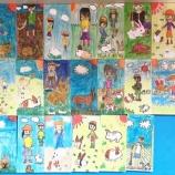 『六年生を送る会のプレゼント(の絵)・六角柱の鉛筆立て』の画像