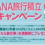 『【ANAカード会員限定】満期10万円毎に1,000円の旅行券プレゼントの2021年夏ANA旅行積立キャンペーン!』の画像