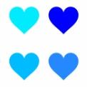 シンプルなハートマーク素材 緑・水色・青・紫