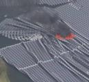 水上のソーラーパネルで火災 市原