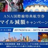 『ANA 国際線特典航空券マイル減額キャンペーン』の画像