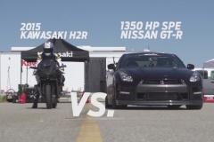 【動画】1350hpの日産 GT-R、カワサキ ニンジャ H2R と加速対決!