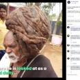 【画像】95年間髪を切ったことがないインド人男性、神と崇められる