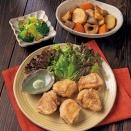 本日の献立【わさび塩で食べる鶏から揚げ・里芋の含め煮・ブロッコリーのおかかあえ】