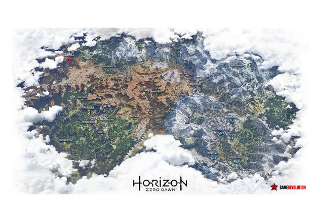 【ホライゾンゼロドーン】マップは端から端まで25分かかる広さ、昼夜天候も動的な変化あり