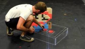【創作】    チョークで描く、3Dスーパマリオがすげえ!! その他:マインクラフト・アイアンマンなど
