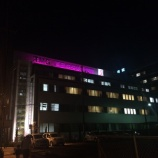 『10月はピンクリボン運動月間 ピンク色に照らされる戸田中央総合病院』の画像