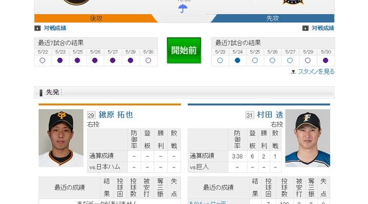 【 巨人vs日本ハム!】スタメン発表!先発は鍬原!2番に陽岱鋼!18:00~