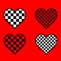 白黒パターン市松模様のハートマーク