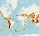 【画像】1900年から2017年までの地震分布図がこちらwwww