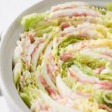 『土鍋に白菜をたっぷり入れます→白菜の上に豚肉を好きなだけ置きます』の画像