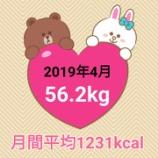 『49日で3.2キロ減量【2019年4月】毎日の摂取カロリー&体重・体脂肪率』の画像