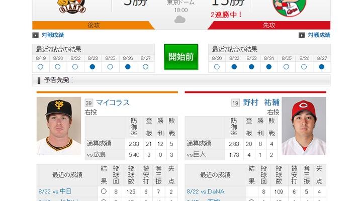 【 巨人実況!】vs 広島(21回戦)!先発はマイコラス!18:00~