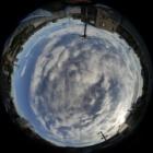 『魚眼レンズLAOWA4mmF2.8による太陽・月・富士山・雲・歩道橋 2019/10/05』の画像