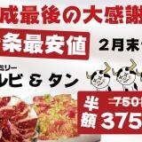 【平成最後の大判振舞】大好評につき2月末まで延長!ファミリーカルビ、ネギタン塩 375円の写真