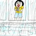 あわやの大雨でベランダの水が