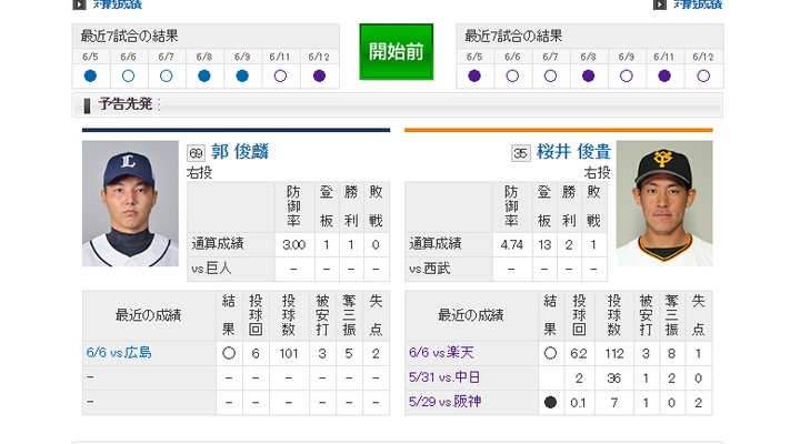 【 巨人実況!】vs 西武![6/13] 先発は桜井!捕手は炭谷!6番DH阿部!