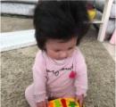 生後5か月の赤ちゃんの髪がフサフサすぎて話題に