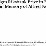 『今年のノーベル賞「行動経済学」:オススメ文献』の画像