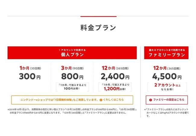 Nintendo Switch Online、消費税増税の影響で値上げも、年間パスとファミリープランは値段据え置き