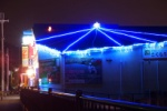 妙見さんの桜並木道のところの屋根がボワーとクラゲみたいに光ってた!~さくらリフォームさんのイルミネーションが独特だ!~