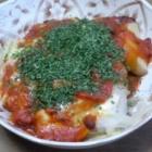 『じゃがいものミートソース焼き、サラダ』の画像