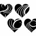 白い波模様の黒ハート素材
