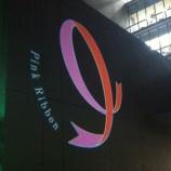 『戸田中央総合病院入口に浮かぶピンクリボンマーク!』の画像