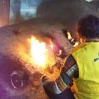 『丹波焼最古の登り窯焼成中です!』の画像