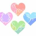 3色に分かれたハート ピンクやブルーなど