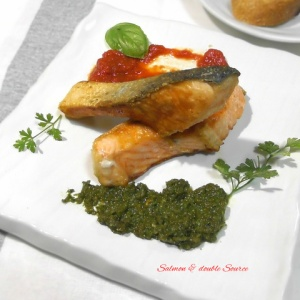 いろんな味で楽しめる♪鮭のムニエル 2種のソース添え