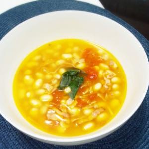 大豆とトマトのスープ