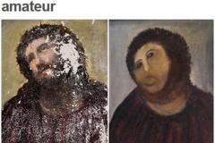 【善意が生んだ悲劇】80代の女性が勝手にキリスト壁画の修復を試みる → 絵が下手すぎて顔が別人に