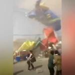 【動画】中国、人で賑わう観光地で「ダストデビル」発生!エア遊具も宙に舞い上がる [海外]
