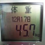 『158cm。45.7kg。21.6%【今月の体重の推移】』の画像