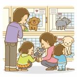 『【クリップアート】ペットショップに行く家族のイラスト』の画像