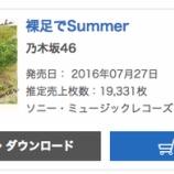 『【乃木坂46】『裸足でSummer』オリコン2日目は19,331枚!累計681,748枚を記録!!』の画像