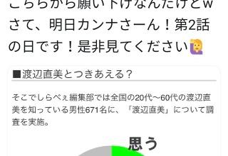 【悲報】渡辺直美さん、「渡辺直美と付き合える?」というアンケートの結果にブチ切れてしまう