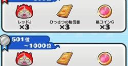 妖怪ウォッチぷにぷに 新スコアアタックの報酬一覧!