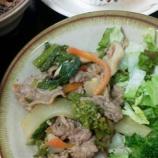 『今日のあべQは(牛肉と菜の花のピリ辛炒め)』の画像