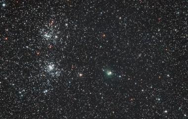 『やっと撮れました!二重星団とパンスターズ彗星』の画像