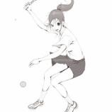『テニスしてる女子の絵_(線画)』の画像