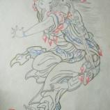 『弘前ねぷた絵278 南蛮王孟獲妻 祝融夫人と王平、魏延、馬岱1』の画像
