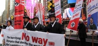 韓国人、NYタイムズスクエアで東京五輪、旭日旗使用禁止デモ …「全世界でデモをして国際問題化する」