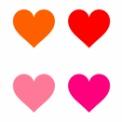 シンプルなハートマーク素材 黄色・オレンジ・赤・ピンク