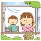 『【クリップアート】窓をあけて換気するこどものイラスト』の画像