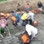 【動画】中国、大型トラック横転で積荷のみかんが散乱!住民集まり恒例の略奪開始~!