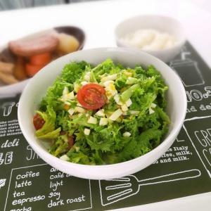 コクがあって食べやすい♪わさび菜とゆで卵のサラダ