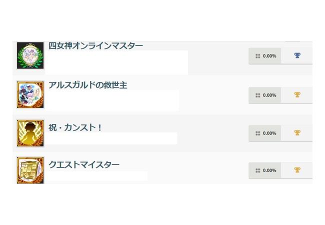 【四女神オンライン】トロフィー情報公開