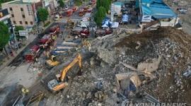 【韓国】建物崩壊で9人死亡、停車中のバスを巻き込む